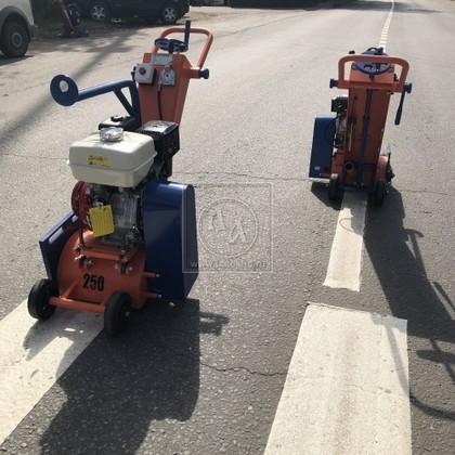 Демаркировочная машина для снятия асфальта, дорожной разметки и бетонного покрытия, с электростартером (с барабаном) LATOKHO DM 250 GE (Россия)
